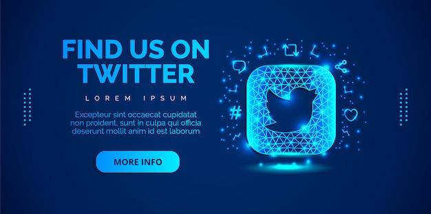 Mídias sociais twitter com fundo azul.