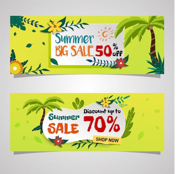 Mídias sociais verão venda banner tropical vibe design