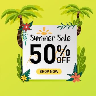 Mídias sociais verão venda desconto banner promoção design