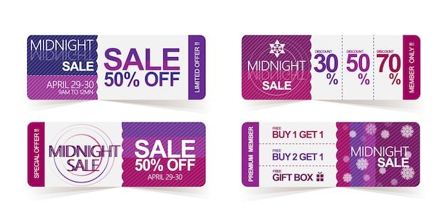 Midnight sales tag promoção e cartão de desconto