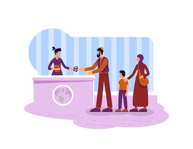 Migração legal 2d web banner, poster. personagens planas da família muçulmana de refugiados no fundo dos desenhos animados. imigrantes recebendo patch para impressão de visto de residência, elemento colorido da web