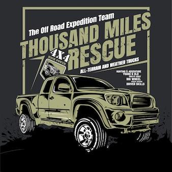 Mil milhas de resgate, ilustração de carro de aventura