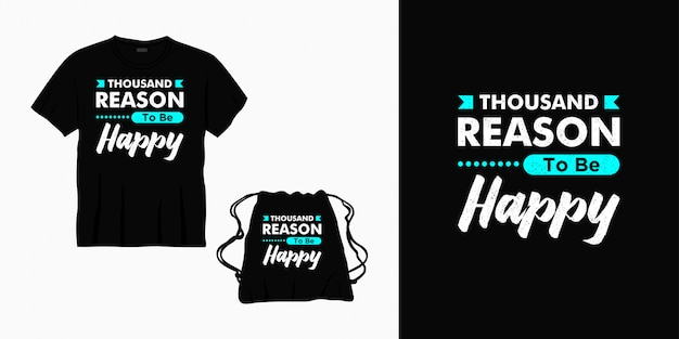 Mil razões para ser feliz tipografia letras design para camiseta, bolsa ou mercadoria