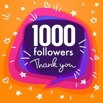 Mil seguidores, obrigado bandeira, estrelas, confetes e composição de letras