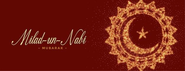 Milad un nabi mubarak brilha desenho de banner
