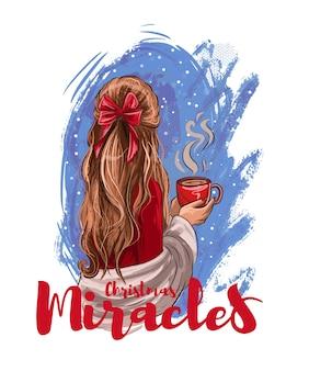 Milagres de natal. mão desenhada bela jovem com uma xícara de chocolate quente