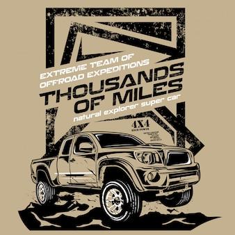 Milhares fora de milles, ilustrações de carros offroad