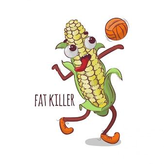 Milho fat killer ilustração de desenho animado de esportes de voleibol