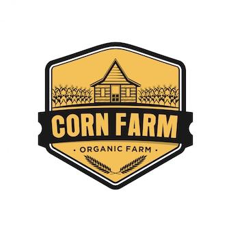 Milho milho fazenda celeiro casa logotipo vintage orgânico simples design minimalista, agricultura silhueta ícone industrial, alimentos cereais produto milho doce.