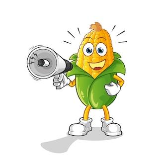 Milho segurando alto-falantes de mão. personagem de desenho animado
