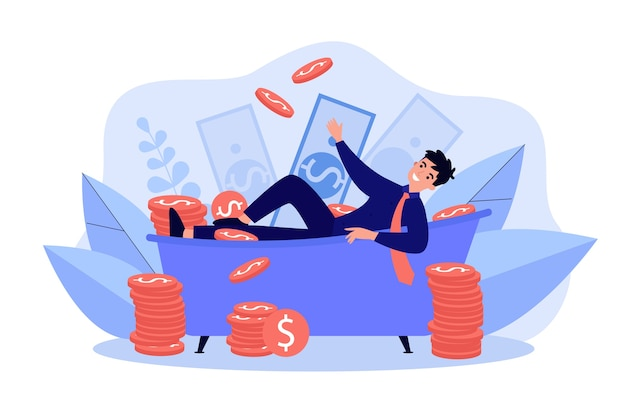 Milionário bem-sucedido tomando banho de dinheiro ilustração plana isolada