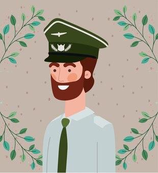 Militar, com, folheia, grinalda, quadro