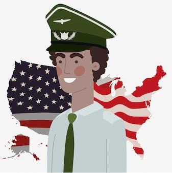 Militar com mapa dos eua e bandeira