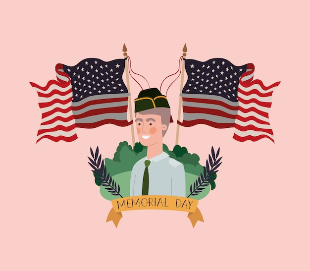 Militar, uniforme, campo, eua, bandeiras, cruzado