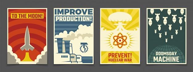 Militares da guerra atômica, cartazes pacíficos do vintage do espaço
