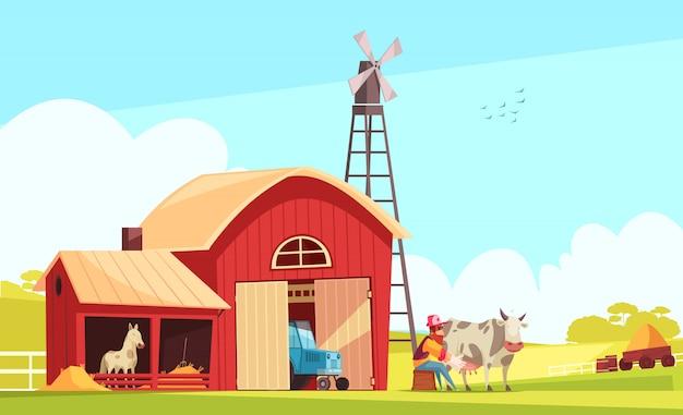 Milk farm outdoor composition
