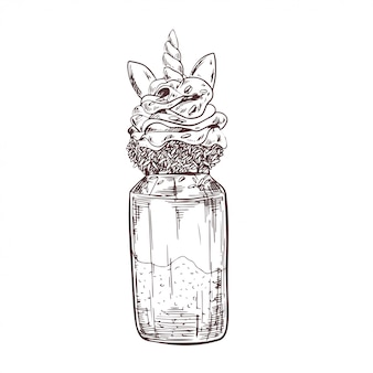 Milk-shake de mão desenhada de vetor ilustração