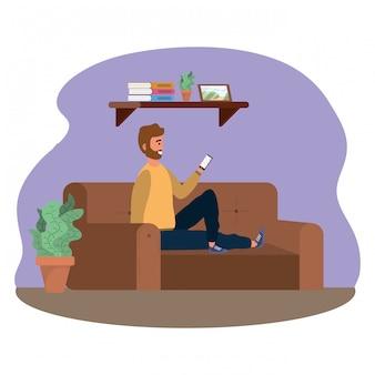 Millenial pessoa sentada usando smartphone dentro de casa