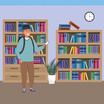 Millennial estudante usando smartphone na biblioteca