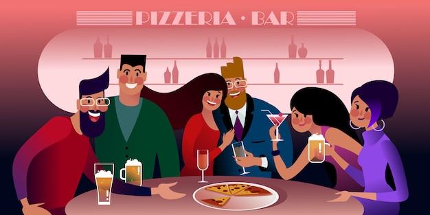 Millennials reunidos em uma pizzaria. ilustração plana.