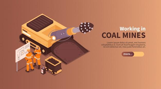 Mina a composição isométrica do banner com slider mais texto editável de botão e caracteres humanos da ilustração de mineiros de carvão