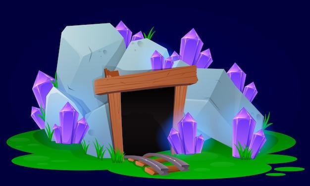 Mina de desenho animado com cristais para jogos