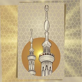 Minarete da torre da mesquita no fundo árabe do ornamento