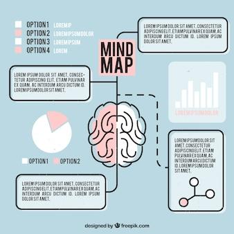 Mind map com cérebro e gráficos