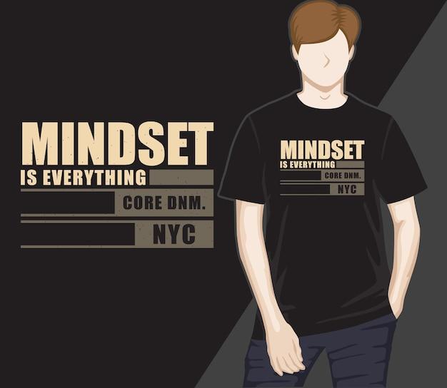 Mindset é tudo, tipografia, design de camisetas