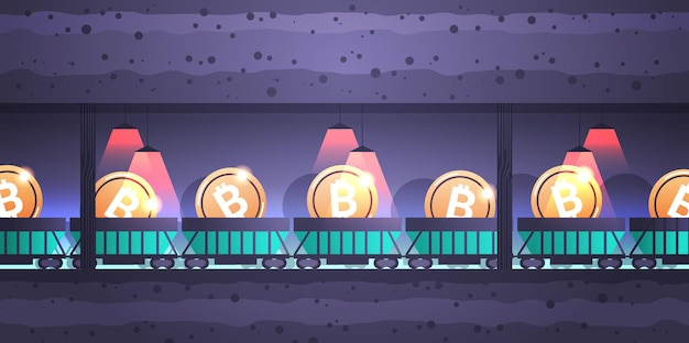 Minecart subterrâneo sobre trilhos com conceito de mineração de criptomoeda bitcoins blockchain horizontal