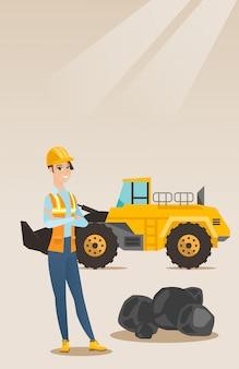 Mineiro com uma grande escavadeira