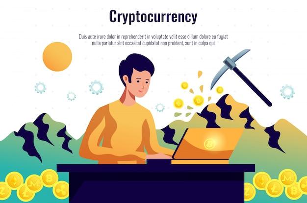 Mineiro de criptomoedas mantendo a rede blockchain trabalhando com software de computador