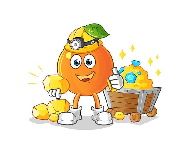 Mineiro de laranja com mascote de desenho animado de ouro
