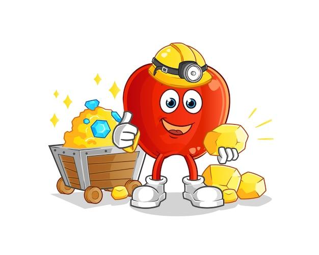 Mineiro de maçã vermelha com mascote dourado