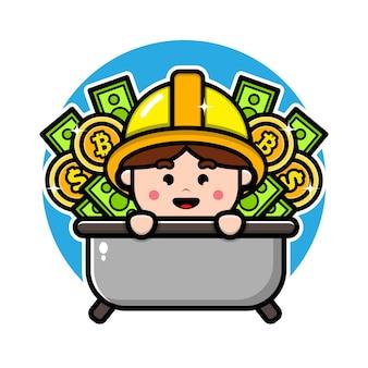 Mineiro fofo com design de personagens de dinheiro e moedas