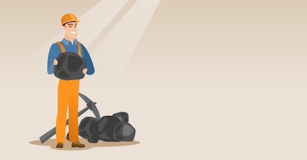 Mineiro, segurando, carvão, em, mãos