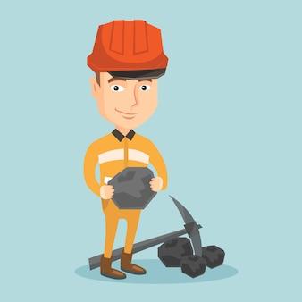 Mineiro, segurando o carvão nas mãos ilustração em vetor.