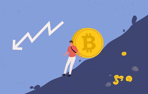 Mineiro tentando impedir que uma moeda bitcoin grande caia. ilustração plana.