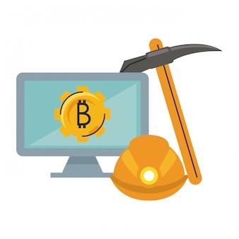 Mineração bitcoin de computador com ferramentas