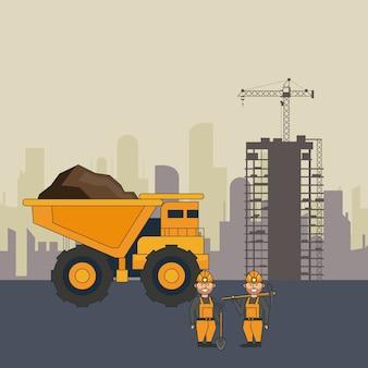 Mineração caminhão grande e trabalhadores com ferramentas