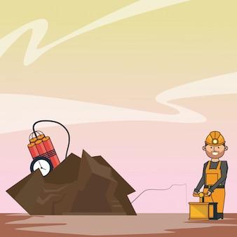Mineração com tnt e trabalhador com detonador