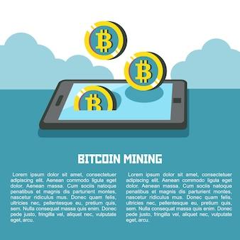Mineração de bitcoin. a criptomoeda é a moeda do futuro. smartphone e bitcoins. ilustração em vetor conceitual.