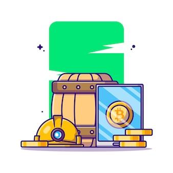 Mineração de bitcoin com ilustração de desenho em telefone