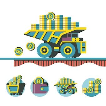Mineração de bitcoin. criptomoeda. conceito de vetor. caminhão basculante carrega bitcoins. conjunto de emblemas de vetor. carrinho com bitcoins, carteira com bitcoins, pilha de moedas.