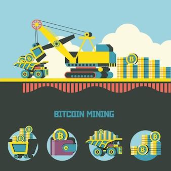 Mineração de bitcoin. criptomoeda. conceito de vetor. carregando bitcoins em um caminhão basculante.