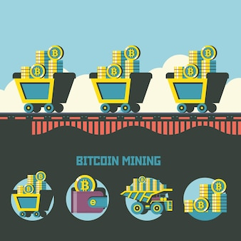 Mineração de bitcoin. criptomoeda. conceito de vetor. carrinhos com bitcoins. conjunto de emblemas de vetor. carrinho com bitcoins, carteira com bitcoins, pilha de moedas.