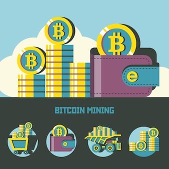 Mineração de bitcoin. criptomoeda. conceito de vetor. conjunto de emblemas de vetor. carrinho com bitcoins, carteira com bitcoins, pilha de moedas.