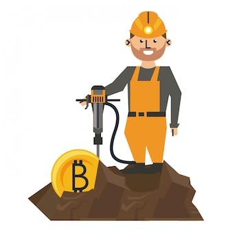 Mineração de bitcoin e trabalhador com broca