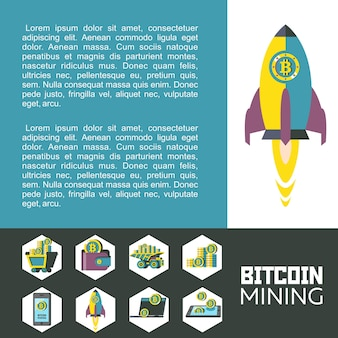 Mineração de bitcoin. ilustração vetorial.