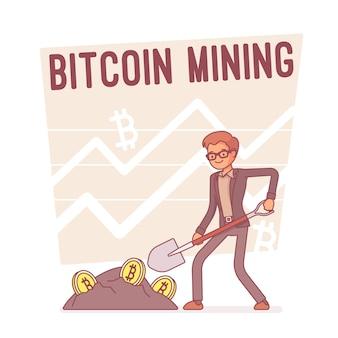 Mineração de bitcoin, linha arte ilustração